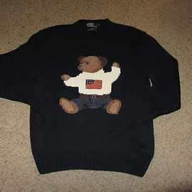 RALPH LAUREN - Vintage Polo by Ralph Lauren Bear Hand Knit Sweater Navy Blue Medium M Pwing MD