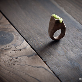 MrLentz - All Natural Wood and Moss Ring