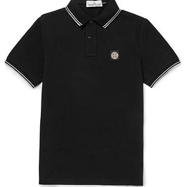 Stone Island - Contrast-Tipped Stretch-Cotton Piqué Polo Shirt