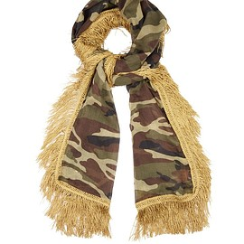 SAINT LAURENT - Camouflage-print fringed wool scarf