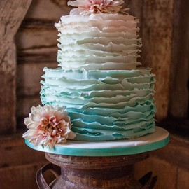 Mint    Ombre Ruffle Cake