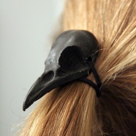 Moon Raven Designs - Black Raven Skull Hair Tie - Pony Tail Holder -Bird Crow