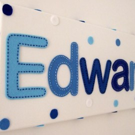 Luulla - Boy's Blue Personalised Handstitched Felt Name Canvas