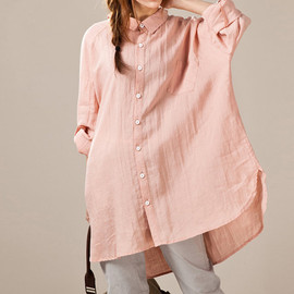 shirt - Linen asymmetric large size long shirt