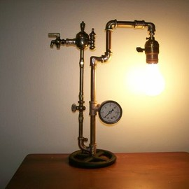 Steampunk Brass Lamp Machine Age Industrial Art Light Deco