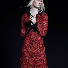 DIANE von FURSTENBERG - Diane von Furstenberg Long-Sleeve Floral Lace Shirtdress