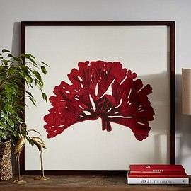 Pottery Barn - FRAMED EMBROIDERED CORAL ART