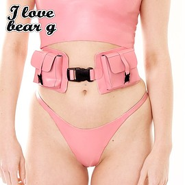 Meat Clothing - I<3BEARG WAIST DOUBLE BELT (pink)