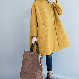 yellow Overcoat - Women winter Clothing oversized loose double breasted wool coat yellow Overcoat gray Overcoat