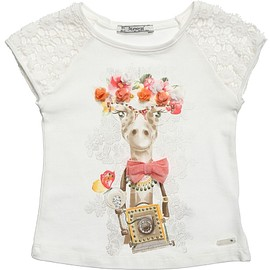 Mayoral - Giraffe Print T-Shirt with Lace Sleeves