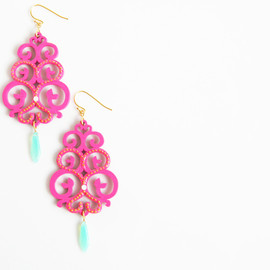Ostara - Fuchsia Wood Filigree/Milky Green Czech Glass