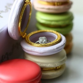 Imagine the look on her face when you propose to your gal with this charming French Macaron Ring Box!