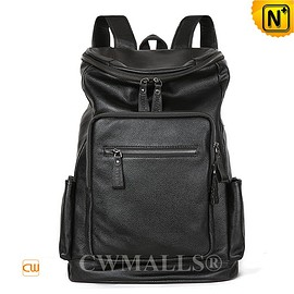 CWMALLS - CWMALLS® Black Leather Travel Backpack CW907007