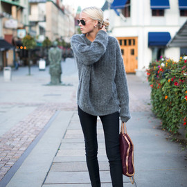 style icon - Ellen Claesson | top and trousers :Acne Studios,  slip-ons : Céline , bag :Stella McCartney
