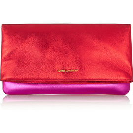SAINT LAURENT - Letters metallic leather clutch