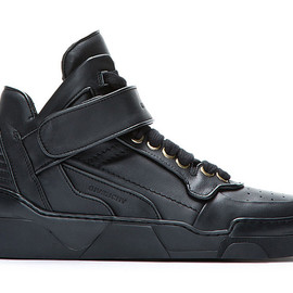 Givenchy - Black Leather Velcro-Strap Mid-Top Sneakers