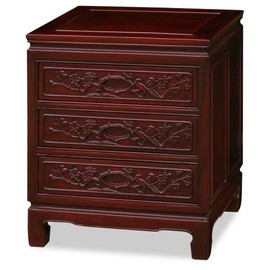 ChinaFurnitureOnline - Rosewood Flower & Birds Motif Nightstand - Dark Cherry