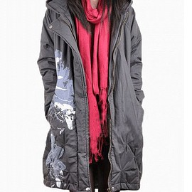 Cotton printing winter coat asymmetric hooded Loose dark gray