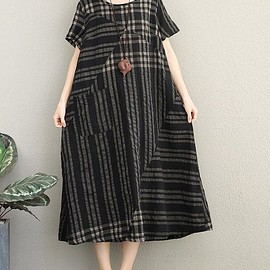summer Dress Black - Short sleeve Casual dress maxi dress Women's Dresses