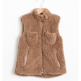 BOBO CHOSES - Fleece s/less fur zip Trumpets