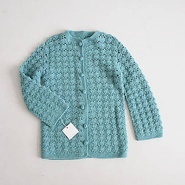 vintage - sea blue sweater | 1960s cardigan | crochet cardigan sweater