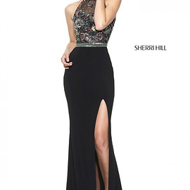 long prom dresses - Fitted Long Sherri Hill 50959 Halter Black/Multi Beaded Slit Prom Dress 2017