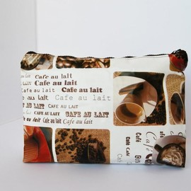 Luulla - Vintage toiletry bag , Coffee print big size by El rincón de la Pulga