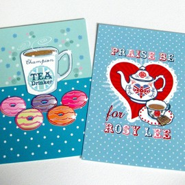 Luulla - Pack of 2 A6 Postcard Prints 'Praise Be for Rosy Lee' & 'Champion Tea Drinker'