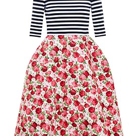 NATASHA ZINKO - Striped Dress with Floral Bell Skirt
