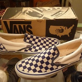 "vans - 「<deadstock>90's vans SLIP-ON navy/white check""made in USA"" W/BOX size:US9(27cm) 15800yen」完売"