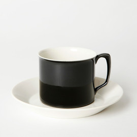 BRANKSOME CHINA - TEA CUP & SAUCER BLACK