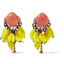 Erickson Beamon - Copacabana gold-plated enamel earrings