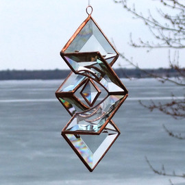 SNLCreations - Clear and Copper Beveled Glass Star Sundrop Suncatcher - Sculptural, Three Dimension Ornament