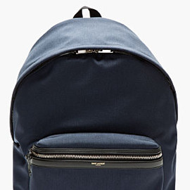 SAINT LAURENT - NAVY Leather-trimmed BACKPACK