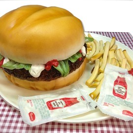 debbie does cakes - Custom sculpted cake - burger, fries and giant ketchup!