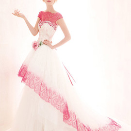 red pink fuschia lace wedding dress