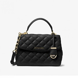 MICHAEL KORS - MICHAEL Michael Kors Ava Small Quilted-Leather Satchel Black