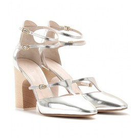 Chloé - Silver Adelin Metallic Leather Block Heel Pumps