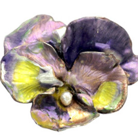 Early 1900s French Enamel Pansy Brooch,Sterling