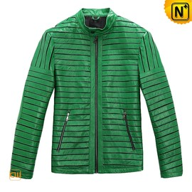 CWMALLS - Mens Green Leather Motorcycle Jacket CW866816 - cwmalls.com