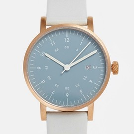 asos - Void Date Window Blue Leather Strap Watch