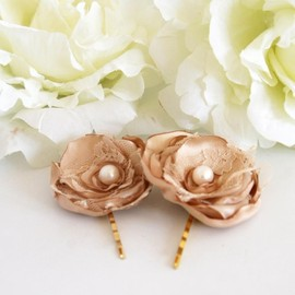 Luulla - BOGO SALE -Wedding hair accessories - Set of 2 bronze silky satin hair flowers
