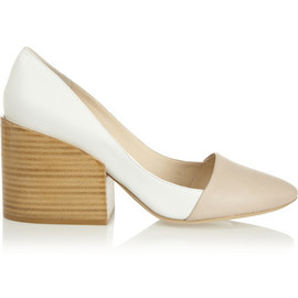 Chloe - Two-tone leather block-heel pumps