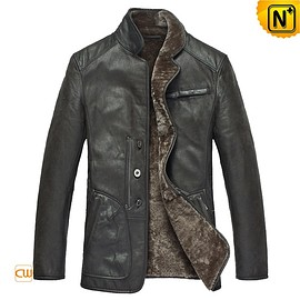CWMALLS - CWMALLS® Shearling Leather Blazer Jacket CW819076