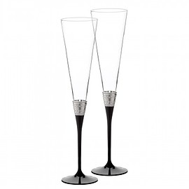 WEDGWOOD - With Love Noir Toasting Flute, Pair