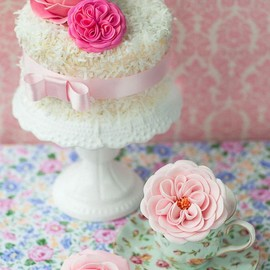 Dainty Little Cake With Pink Flowers