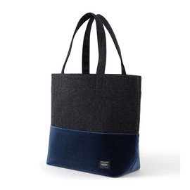 "HEAD PORTER - ""VELOURS"" SHOPPING BAG (L) BLUE"