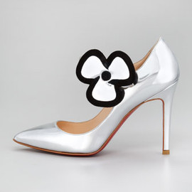 Christian Louboutin - Pensee Mary Jane Flower Pump, Silver