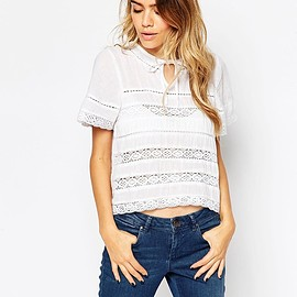 ASOS - ASOS Pretty Top With Lace Inserts