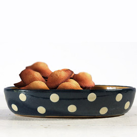 1 little traditional Alsacian  DISH Friedmann - Blue with white  DOTS